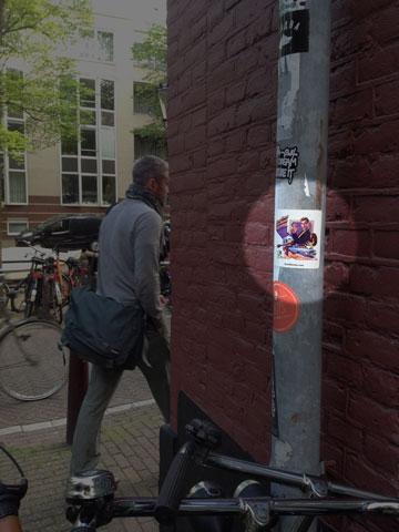 Rob P. sticker on lightpost