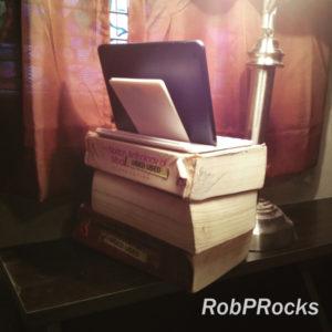 low-tech iPad tripod made of 3 old Norton Anthologies