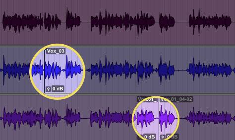 """playlist"" view showing alternate takes with punched in recording regions"