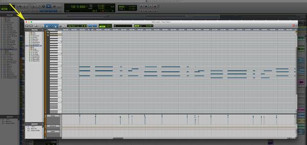 Pro Tools' MIDI edit window, opened in s separate window on top of the arrange window.