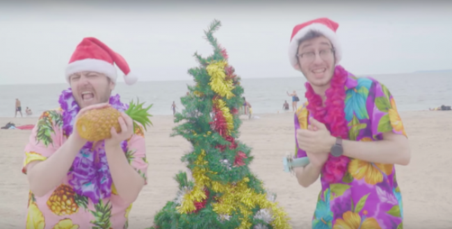 Sam and Bill in their video for Christmas in July