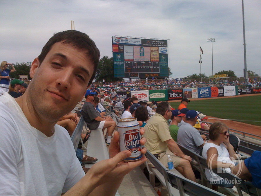 Rob with beer in stadium