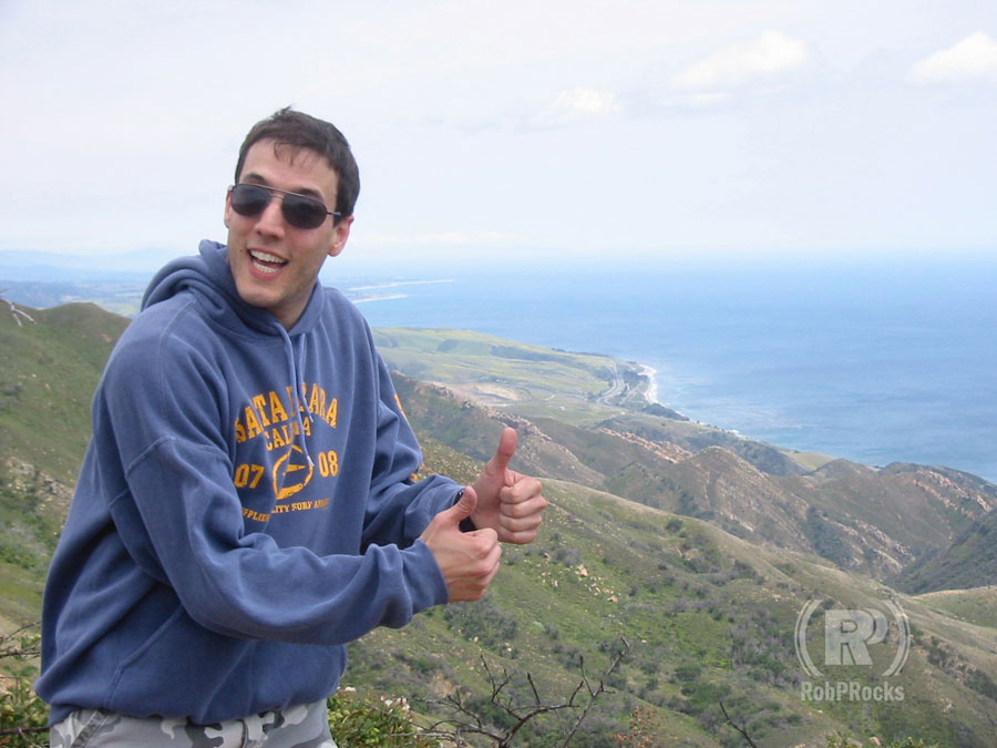 Thumbs up over the Pacific Ocean