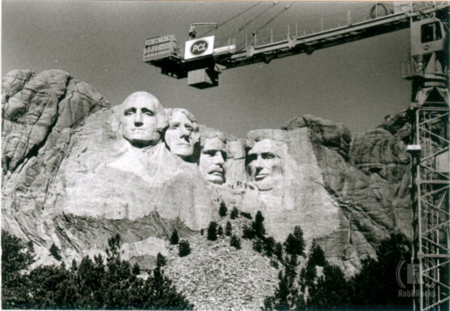 Mt Rushmore and crane