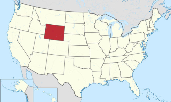 US Map with Wyoming highlighted